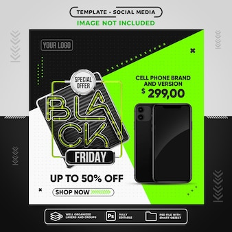 Social media feed black friday do sprzedaży smartfonów
