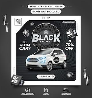 Social media feed czarny piątek nowoczesny wynajem samochodów