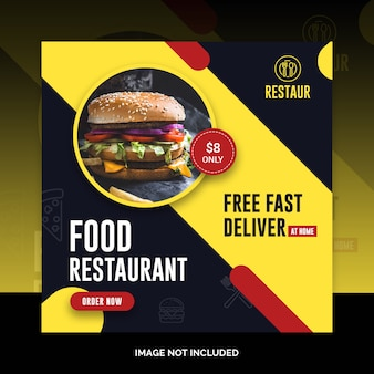 Social media jedzenie instagram post restauracja szablon