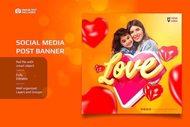 Social media love banner z elementem 3d