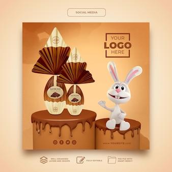 Social media makieta wielkanocna królik 3d render szablonu