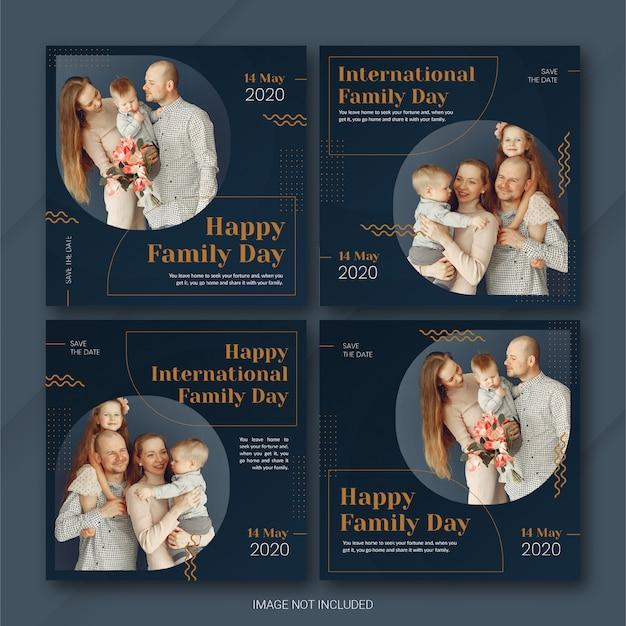 Social media post banner bundle międzynarodowy dzień rodziny szablon