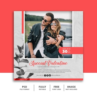 Social media post banner szablon dla para valentine