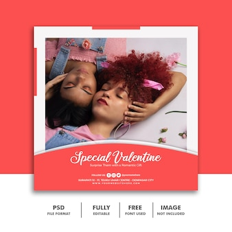 Social media post banner szablon valentine na sprzedaż mody