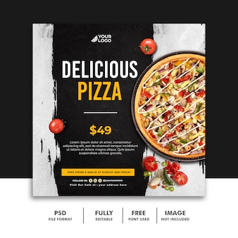 Social media post fastfood szablon banera dla restauracji pizza