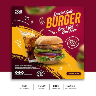 Social media post square banner template for restaurant fastfood menu special burger
