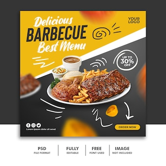Social media post square banner template for restaurant food menu special ribs