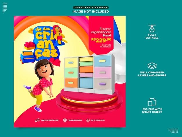 Social media szablon instagram post dia das dzieci brasil em portugues sprzedaż