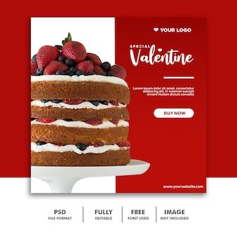 Social media valentine szablon instagram, jedzenie czerwony