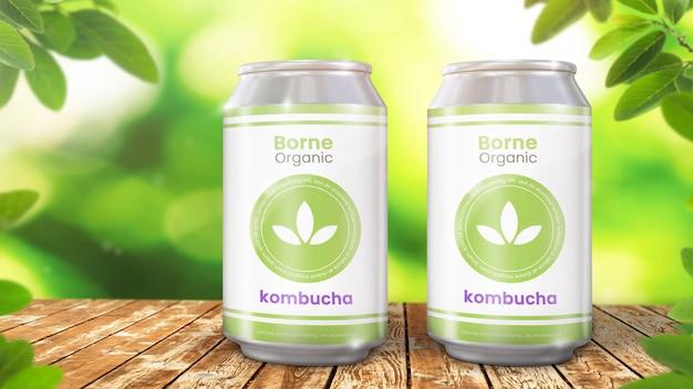 Soda może makieta organicznych liściastych