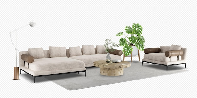 Sofa i roślina monstera w renderowaniu 3d
