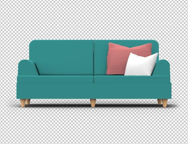 Sofa na białym tle. materiał w kolorze turkusowo-zielonym