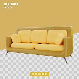 Sofa renderowania 3d izolowana premium