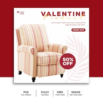 Sofa specjalna wyprzedaż szablon instagram post valentine