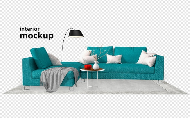 Sofa wewnętrzna makieta renderowania 3d na białym tle