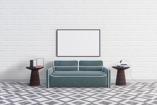 Sofa z dużą ramą do zdjęć