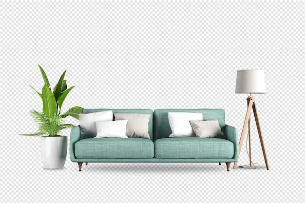 Sofa z roślin w 3d renderowane