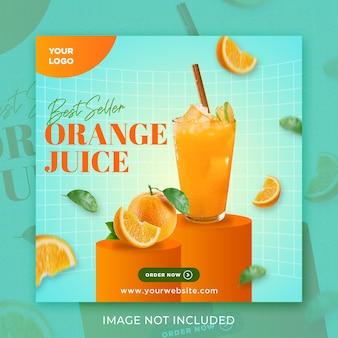 Sok pomarańczowy best seller media społecznościowe szablon post na instagramie