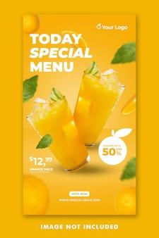 Sok pomarańczowy napój menu media społecznościowe szablon historii na instagramie do promocji restauracji