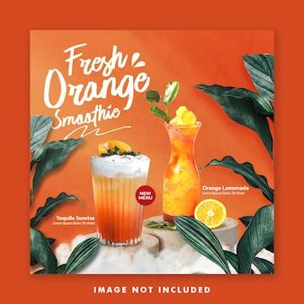Sok pomarańczowy napój menu social media post banner szablon instagram do promocji