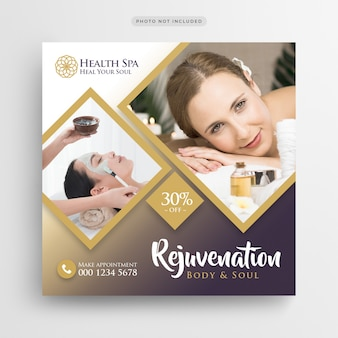 Spa zdrowia salon piękności social media banner lub kwadratowych szablon ulotki