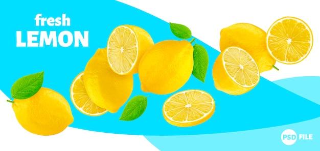 Spadające cytryny transparent