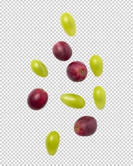 Spadające czerwone i zielone winogrona do projektowania