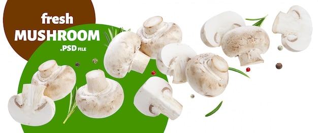 Spadające grzyby, pokrojone pieczarki
