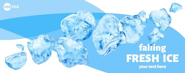Spadające kawałki lodu, kupa kruszonego lodu na białym tle