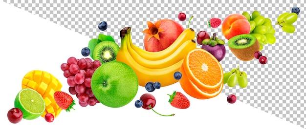 Spadające owoce i jagody na białym tle