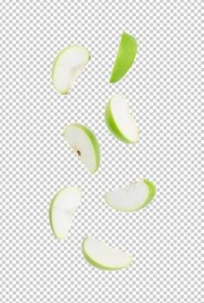 Spadające plasterek dojrzałe zielone jabłko do projektowania