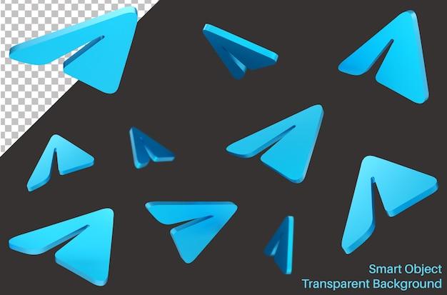 Spadające telegramowe logo mediów społecznościowych w stylu 3d