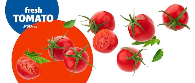 Spadający dojrzały pomidor cherry na białym tle