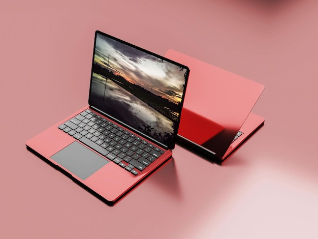 Specjalna makieta laptopa w kolorze czerwonym