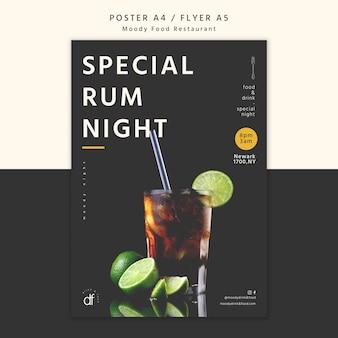 Specjalna noc rumu na plakacie w restauracji