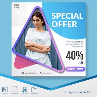 Specjalna oferta moda rabat oferta szablon transparent media społecznościowe