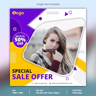 Specjalna oferta sprzedaży w mediach społecznościowych szablon transparent