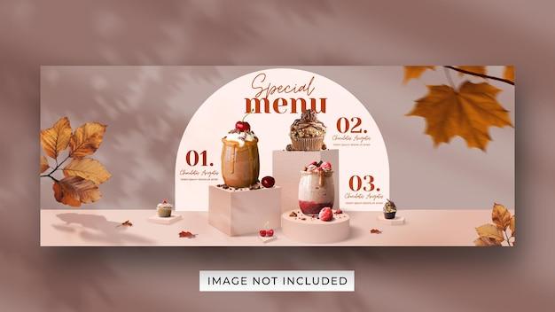 Specjalna promocja menu napojów w mediach społecznościowych szablon transparentu okładki na facebooku