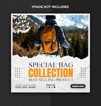Specjalna tornister sprzedaż produktu w mediach społecznościowych i szablon postu na instagramie