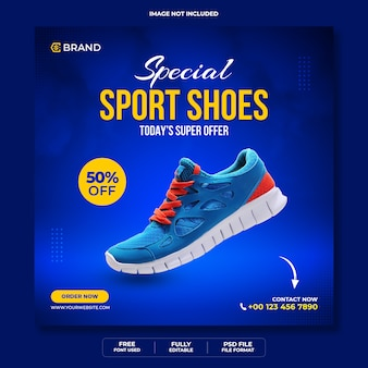 Specjalne buty sportowe baner internetowy instagram lub szablon banera mediów społecznościowych