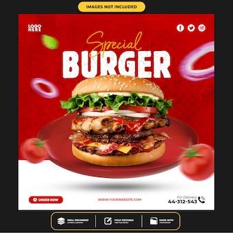 Specjalne media społecznościowe burger publikują szablon na instagramie