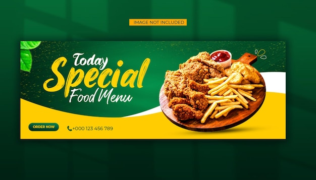 Specjalne media społecznościowe menu żywności i szablon posta na facebooku