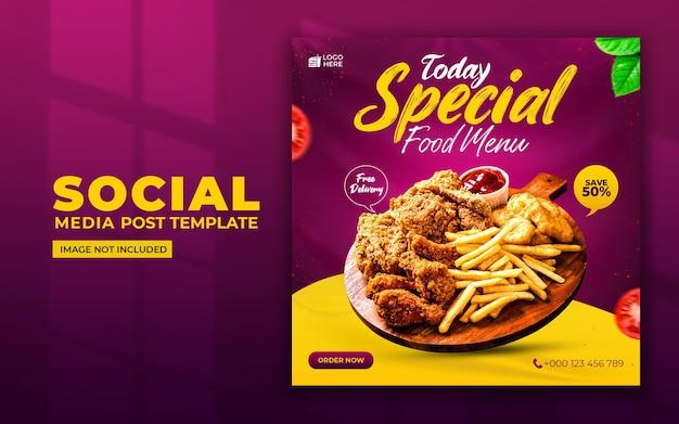 Specjalne media społecznościowe menu żywności i szablon postu na instagramie