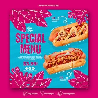 Specjalne menu promocyjne w mediach społecznościowych na instagramie szablon transparentu