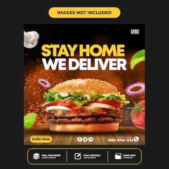 Specjalne menu social media food social media banner post design template