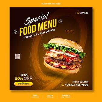 Specjalny baner promocyjny sprzedaży menu żywności lub szablon banera instagram