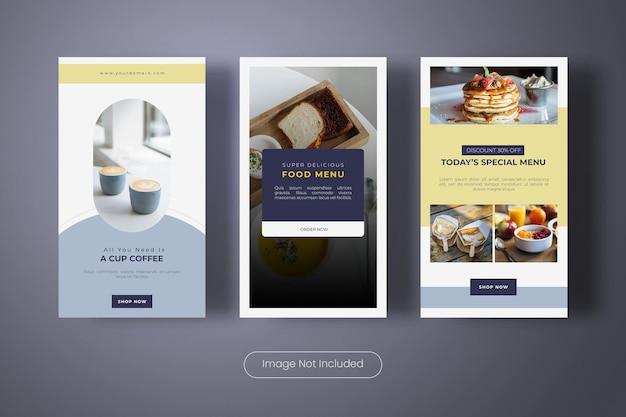 Specjalny baner szablonów historii menu żywności na instagramie