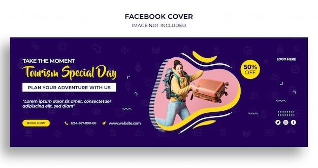 Specjalny dzień turystyki na facebooku osłona czasu lub nagłówek i szablon banera internetowego