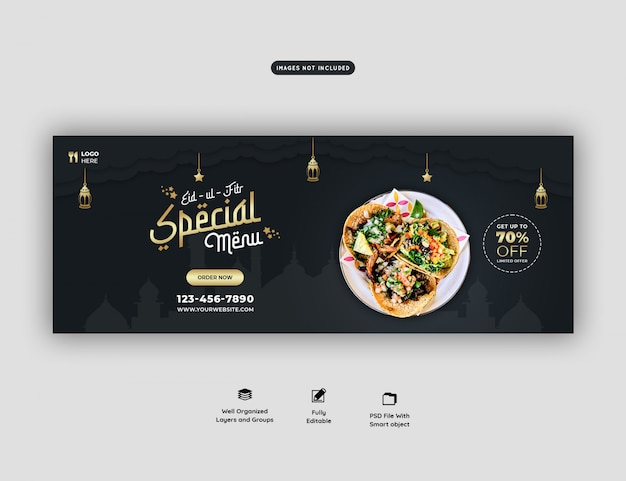 Specjalny eid ul fitr menu żywności facebook okładka banner psd