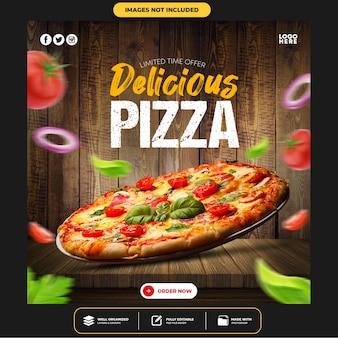 Specjalny post w mediach społecznościowych delicious pizza